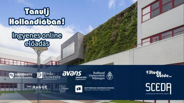Tanulj Hollandiában Napok - 3 Holland egyetem online előadása - díjmentes részvétel